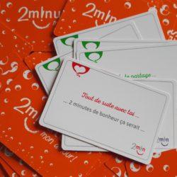 Le jeu 2minutes mon amour est composé de 52 questions pour initier 52 occasions de discuter ensemble positivement